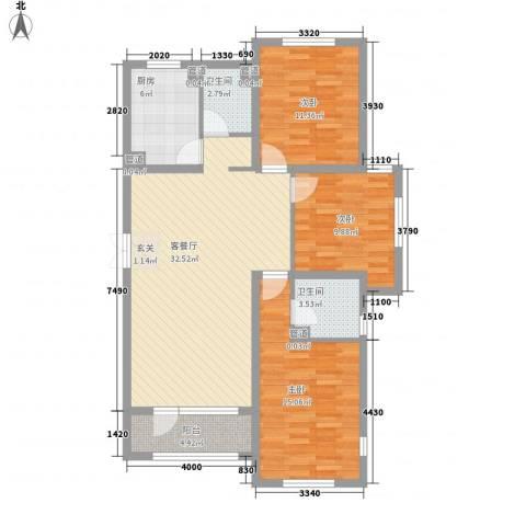 幸福里3室1厅2卫1厨98.19㎡户型图