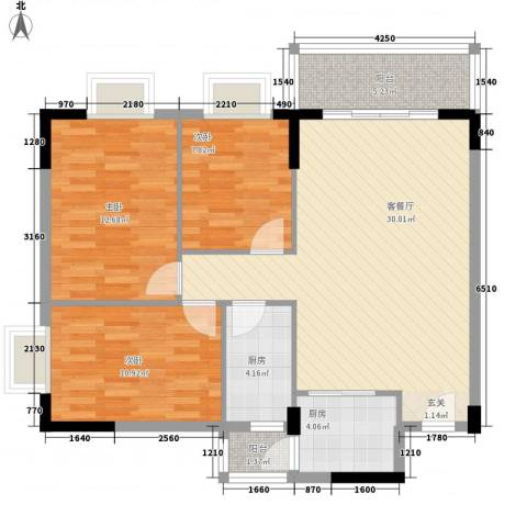 启明苑3室1厅0卫2厨76.26㎡户型图