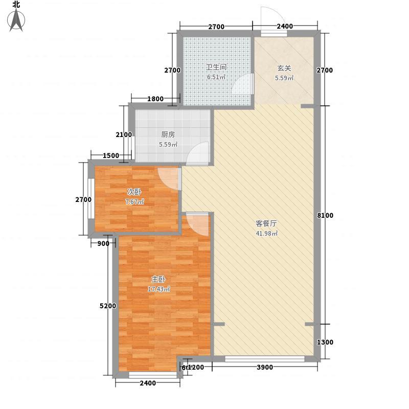公元南湖13.00㎡A1-2户型2室2厅1卫1厨
