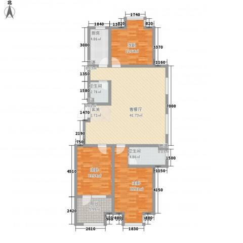 幸福里3室1厅2卫1厨117.32㎡户型图