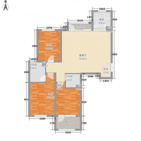 幸福里3室1厅2卫1厨102.21㎡户型图