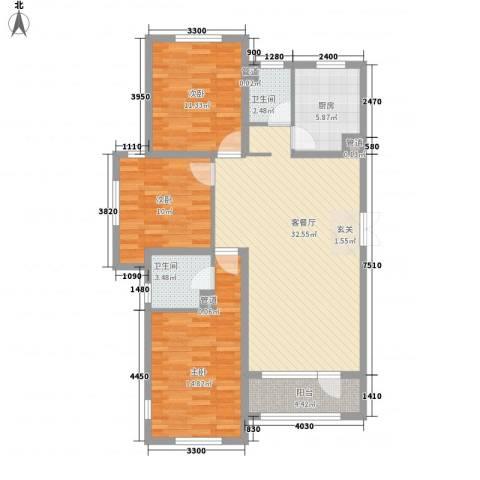 幸福里3室1厅2卫1厨97.55㎡户型图