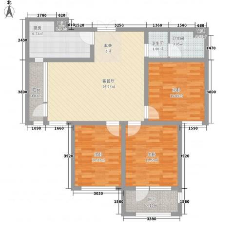 幸福里3室1厅2卫1厨92.51㎡户型图