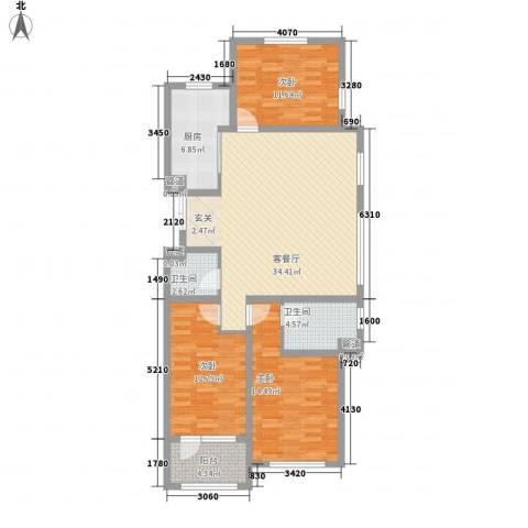 幸福里3室1厅2卫1厨105.28㎡户型图
