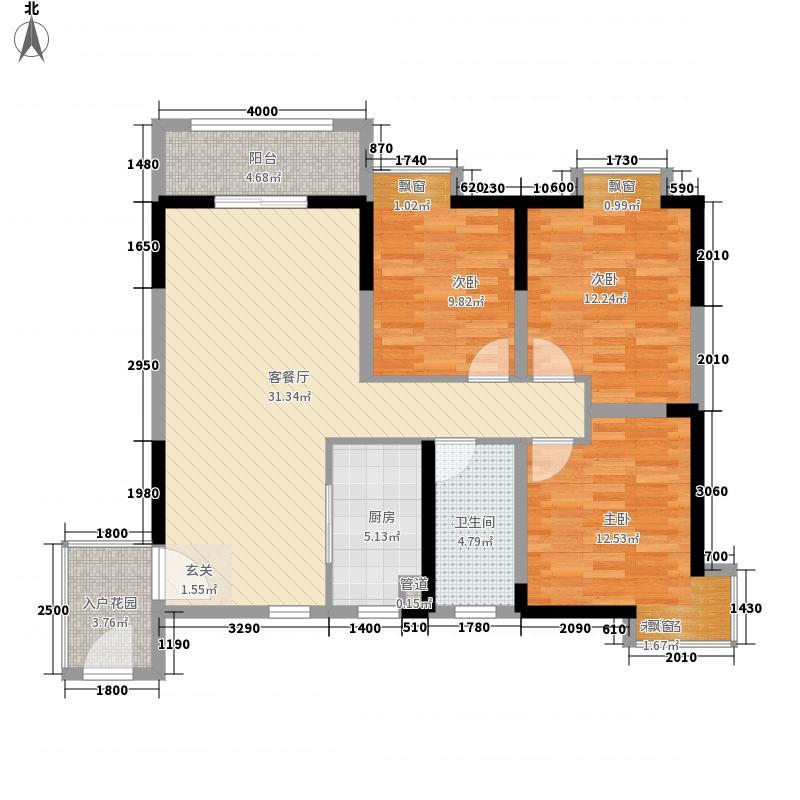 黎明新居3室1厅1卫1厨114.00㎡户型图