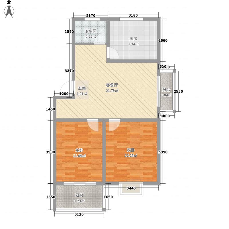 银港花园87.00㎡户型2室1厅1卫1厨