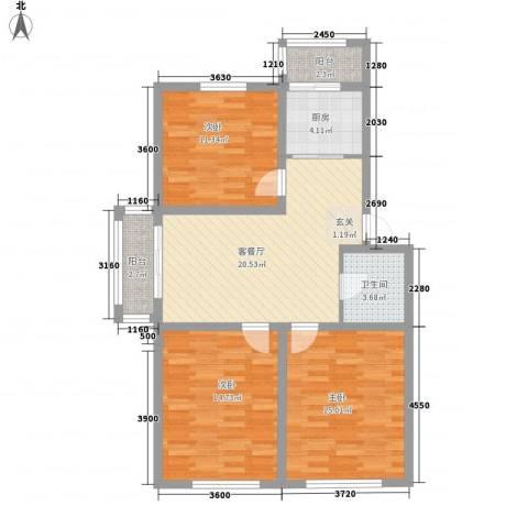 梧桐花园二期3室1厅1卫1厨107.00㎡户型图