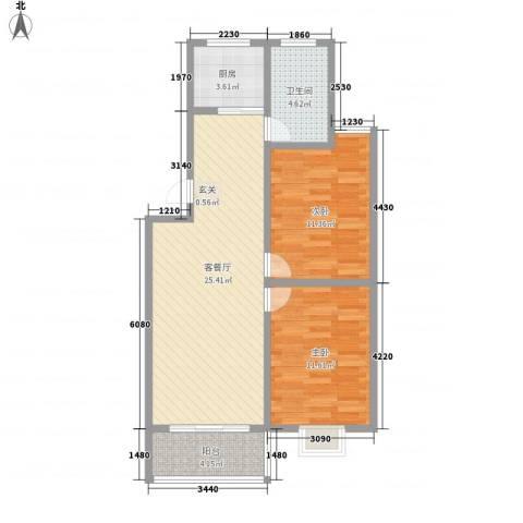 成业家园2室1厅1卫1厨86.00㎡户型图