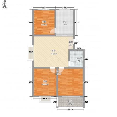 成业家园3室1厅1卫1厨66.35㎡户型图