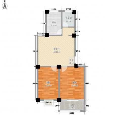 成业家园2室1厅1卫1厨81.00㎡户型图