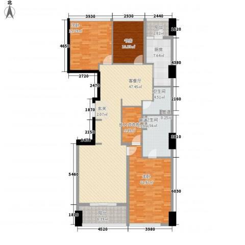 苏宁广场3室1厅2卫1厨187.00㎡户型图