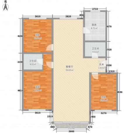 鹿鸣苑3室1厅2卫1厨146.00㎡户型图