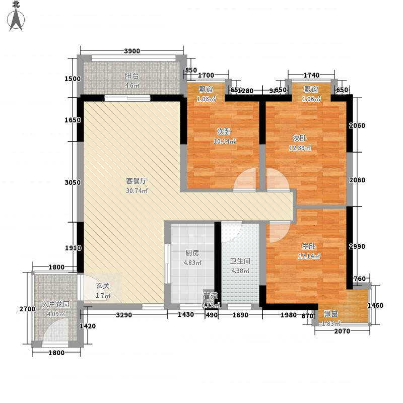 黎明新居3室1厅1卫1厨83.43㎡户型图