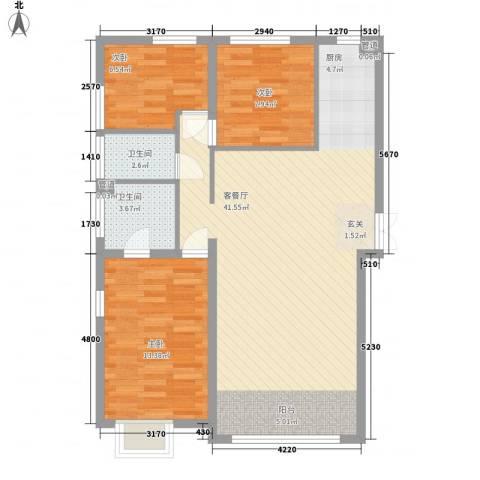 盟科视界3室1厅2卫0厨107.00㎡户型图