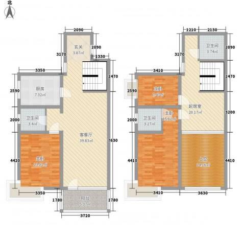 新兴新庆坊3室1厅3卫1厨171.00㎡户型图
