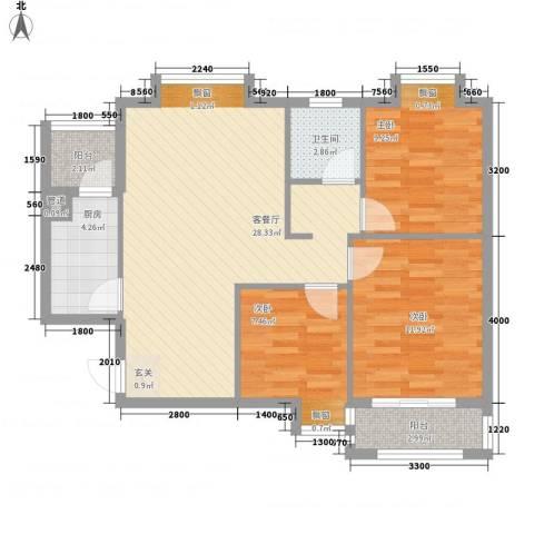 星光银河湾3室1厅1卫1厨69.26㎡户型图