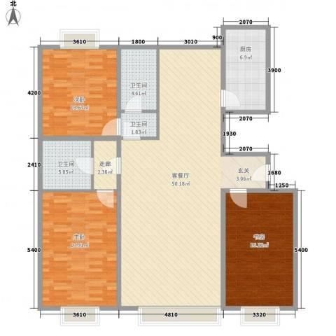 鹿鸣苑3室1厅3卫1厨163.00㎡户型图