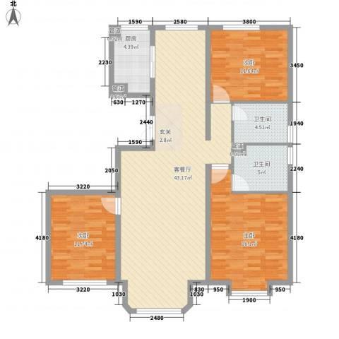 中冶世家3室1厅2卫1厨136.00㎡户型图
