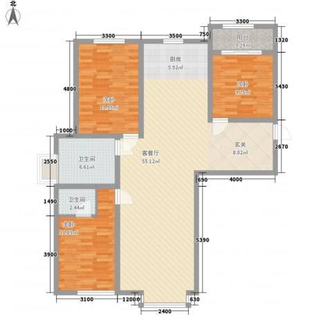 奈伦和兴园3室1厅2卫0厨145.00㎡户型图