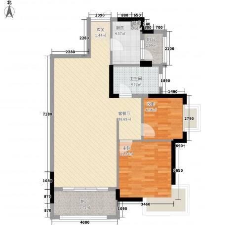龙光海悦城邦2室1厅1卫1厨102.00㎡户型图