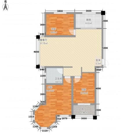 豪门又一城3室1厅1卫1厨127.00㎡户型图