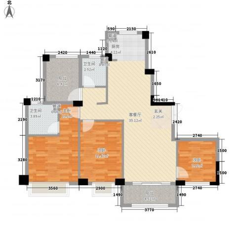 上城国际3室1厅2卫0厨112.00㎡户型图