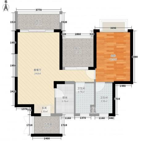 碧海蓝天三期1室1厅2卫1厨90.00㎡户型图