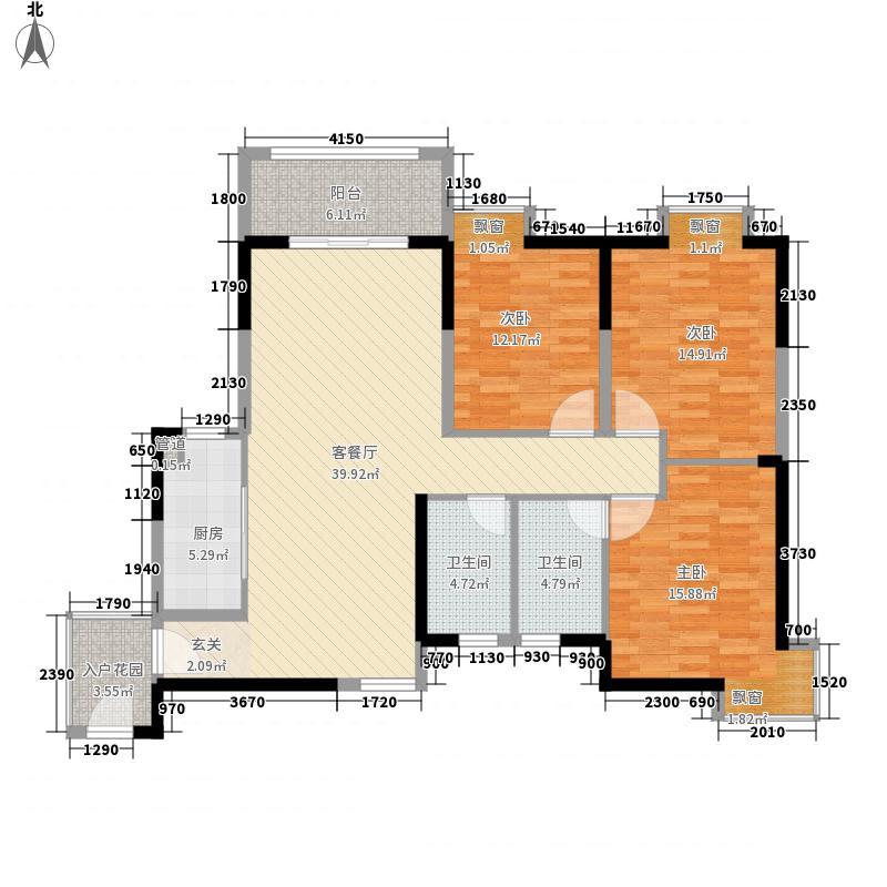 黎明新居3室1厅2卫1厨134.00㎡户型图