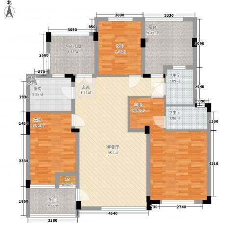 盛世新城3室1厅2卫1厨122.00㎡户型图
