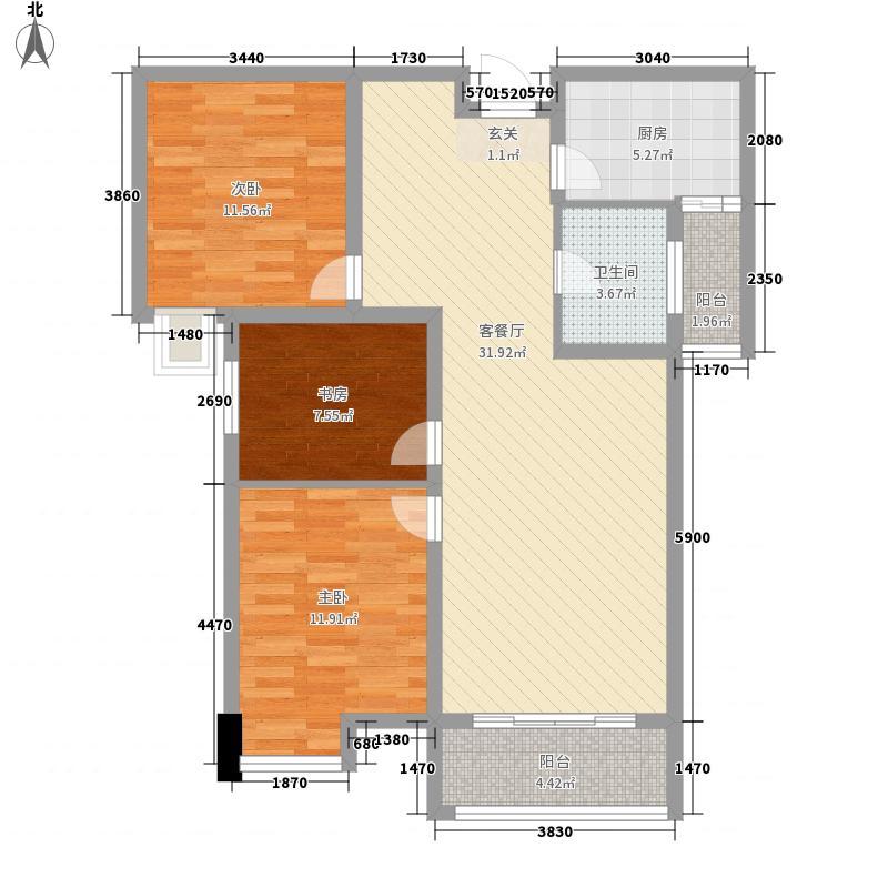 中弘・中央广场112.62㎡C-2户型3室2厅1卫1厨