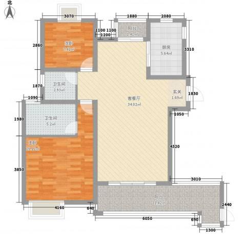 幸福时光2室1厅2卫1厨121.00㎡户型图