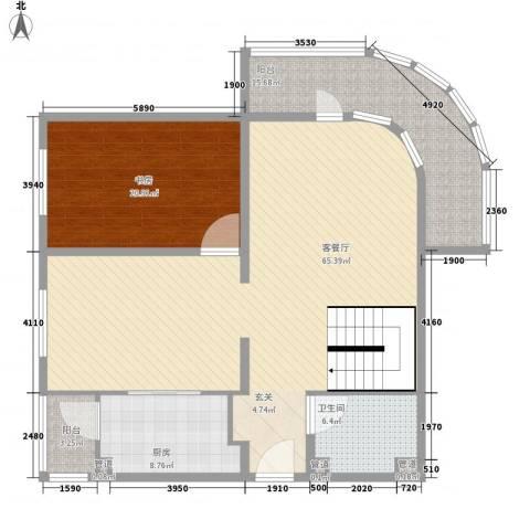 亚泰鼎盛国际1室1厅1卫1厨168.00㎡户型图