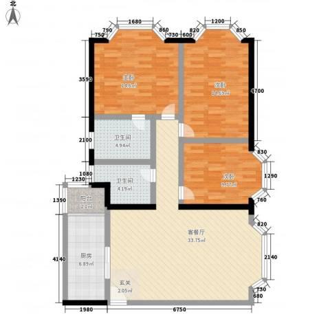 娑罗家园3室1厅2卫1厨130.00㎡户型图