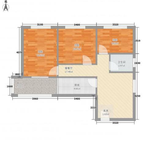 安慧里一区3室1厅1卫1厨85.00㎡户型图