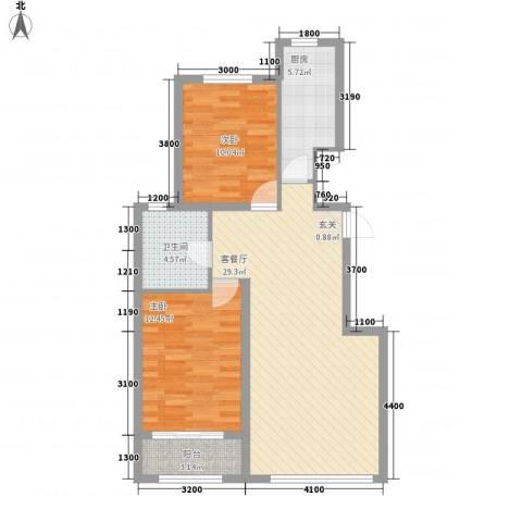 天承锦绣2室1厅1卫1厨93.00㎡户型图
