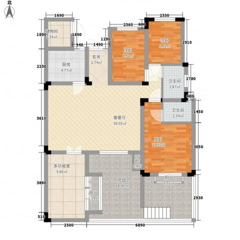 一品苑3室1厅2卫1厨142.00㎡户型图