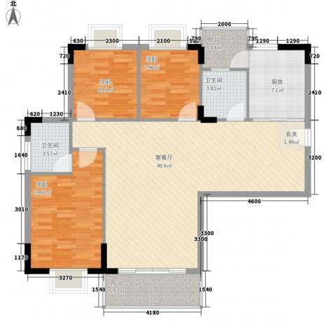 启明苑3室1厅2卫1厨127.00㎡户型图