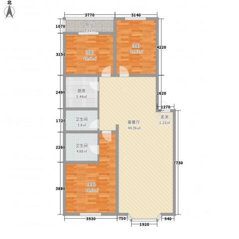 星宇名家3室1厅2卫1厨139.00㎡户型图