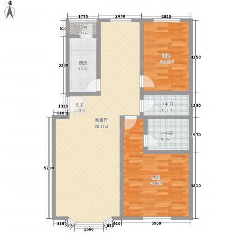 星宇名家2室1厅2卫1厨107.00㎡户型图