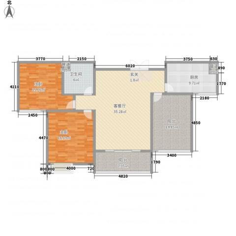 鸿城国际2室1厅1卫1厨146.00㎡户型图