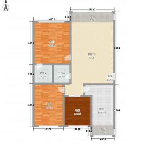 鸿城国际3室1厅2卫1厨150.00㎡户型图