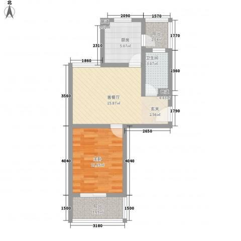 小上海新城三期1室1厅1卫1厨61.00㎡户型图