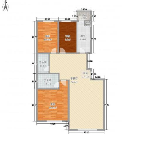 星宇名家3室1厅2卫1厨130.00㎡户型图