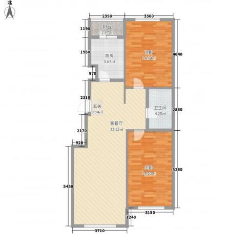 星宇名家2室1厅1卫1厨103.00㎡户型图