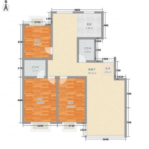 长影阳光景都3室1厅2卫0厨116.00㎡户型图