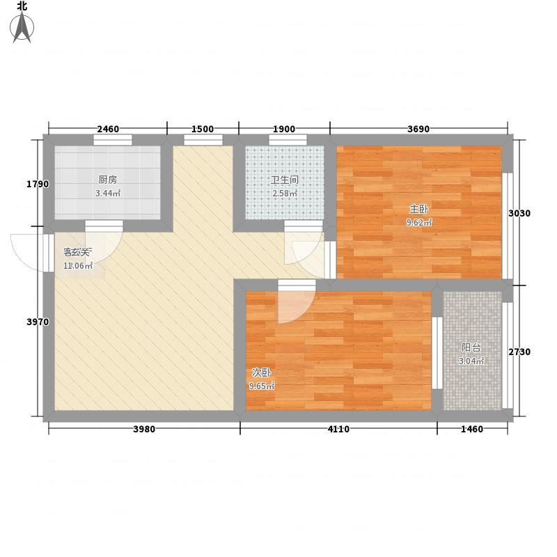 正商幸福港湾6.38㎡一期M8户型2室1厅1卫1厨