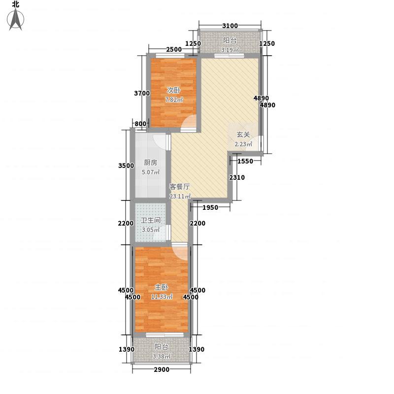 北京悦83.00㎡5号楼两居户型2室2厅1卫1厨