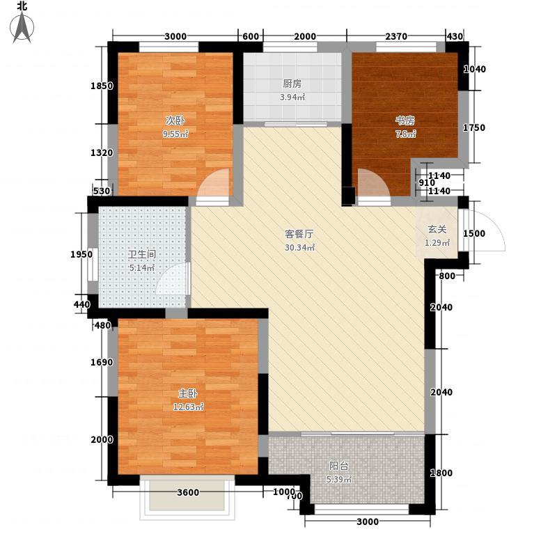 绿地隆悦公馆3室1厅1卫1厨107.00㎡户型图