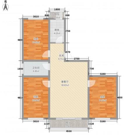 长影阳光景都3室1厅1卫1厨84.57㎡户型图