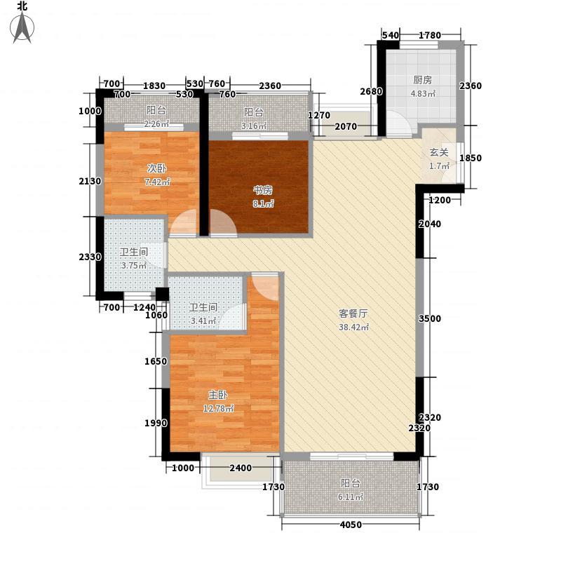 金座丽景128.43㎡G户型3室2厅2卫1厨